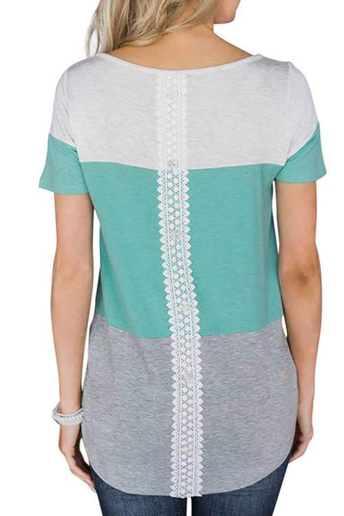 Lace Collared Short - Sleeved T-Shirts