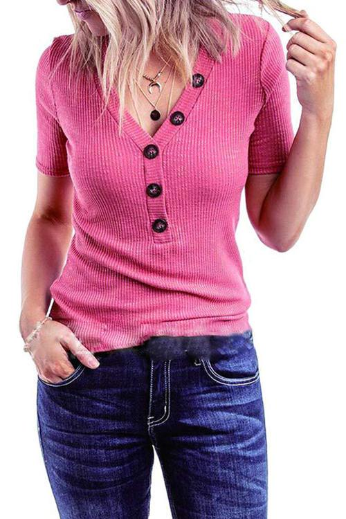 Knitted  V-Neck Short Sleeve T-Shirt