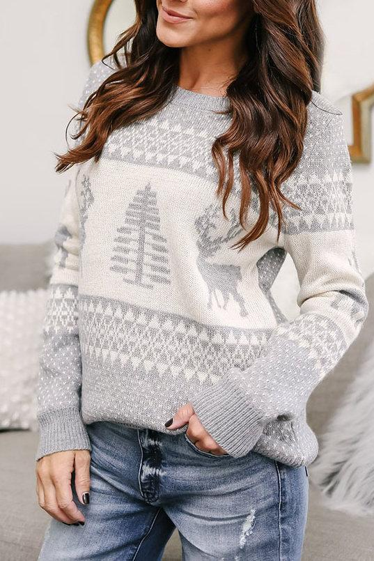 Stylish Christmas Print Red Sweater (4 Colors)
