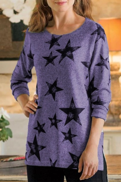 Star Printed Round Neck Long Sleeve T-Shirt