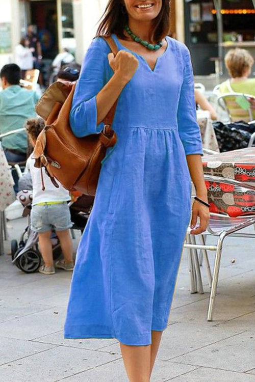 Simple Solid Casual Midi Dress