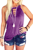 Hollow-Out Round Neck Tank Top