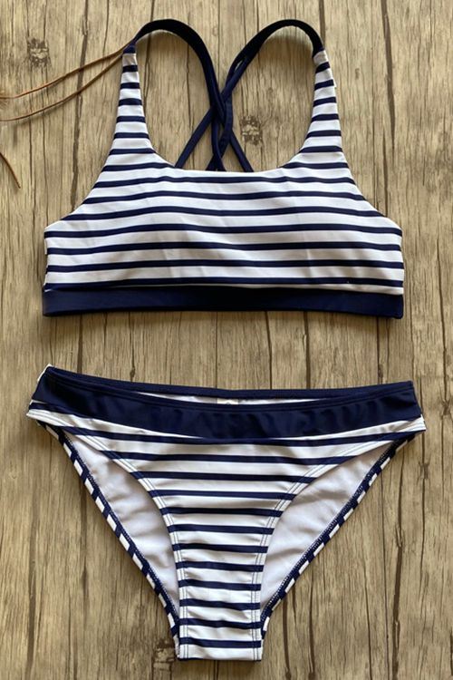 Striped Blue Two-Piece Swimsuit