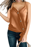 Stylish Button Design V Neck Tank Top