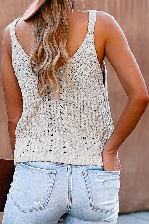 Stylish Hollow-Out Beige Tank Top