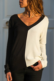 Patchwork V Neck Long Sleeve T-Shirt