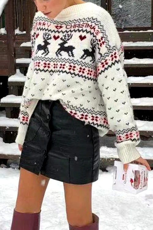 O Neck Elk Print Black Sweater