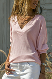 Solid V Neck Long Sleeve Casual T-Shirt