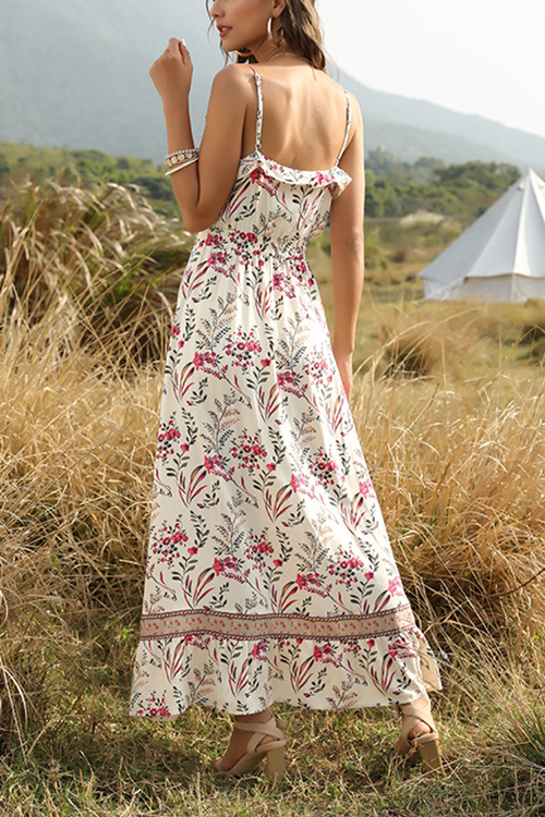 V Neck Condole Belt Printed Flouncing Bohemia Dress