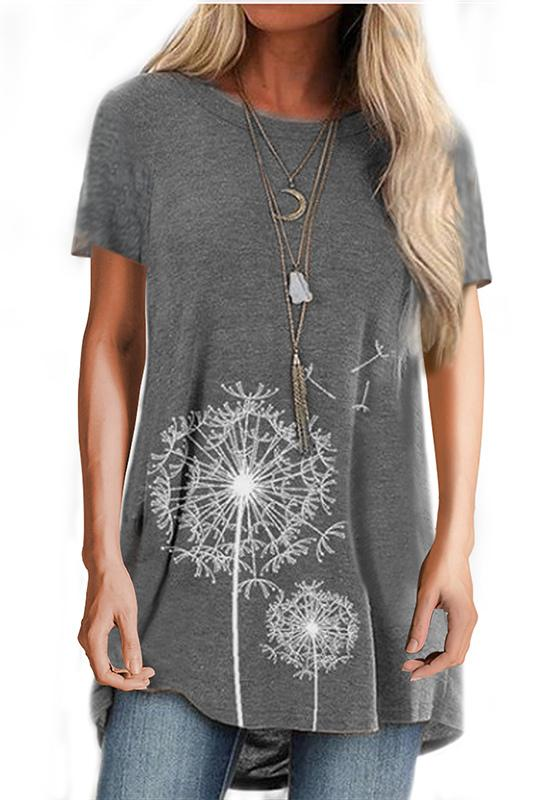 Printed Short-Sleeve Round Neck T-Shirt