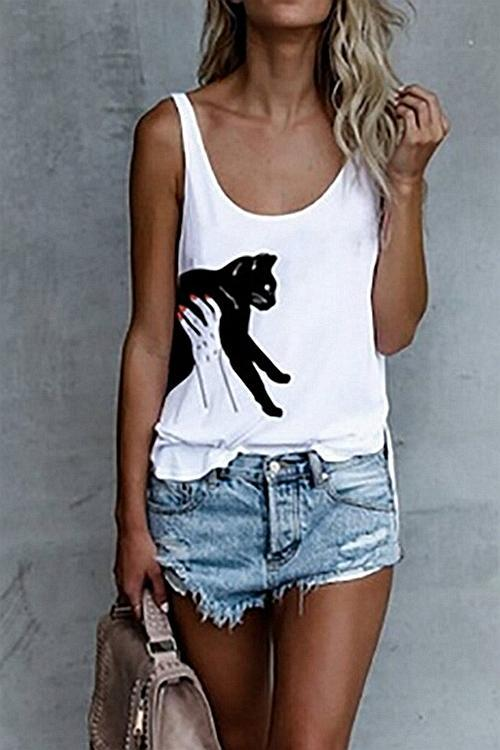 Stylish Cat Printed Round Neck Tank Top