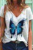 Butterfly print V-neck T-shirt