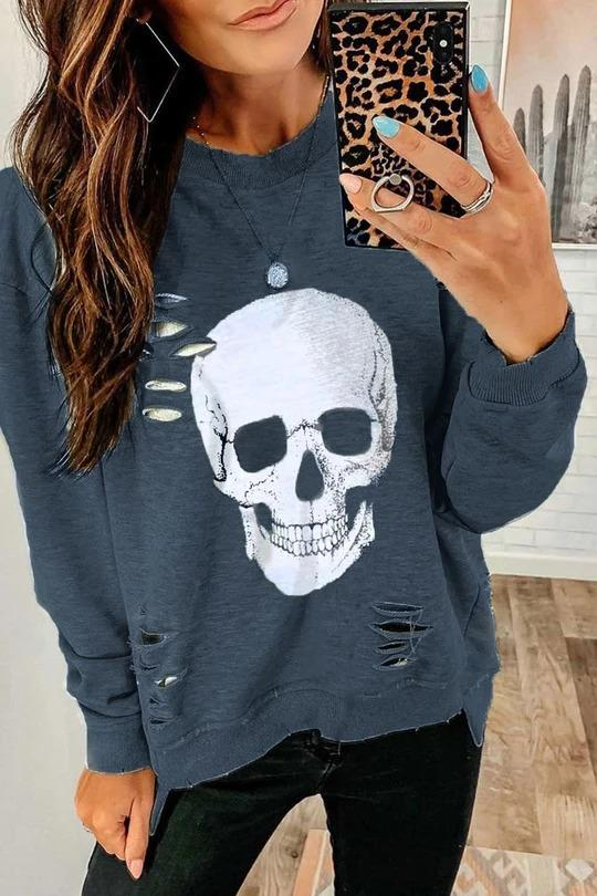 Casual O Neck Skull Printed Grey Sweatshirt