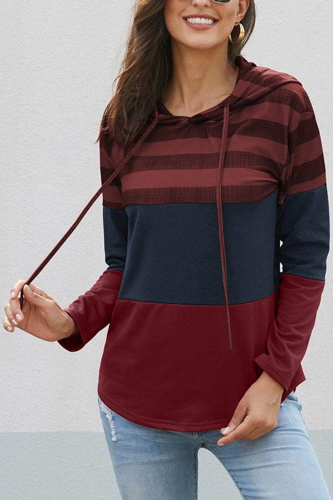 Hooded Collar Color-Block Patchwork Hoodie(6 Colors)