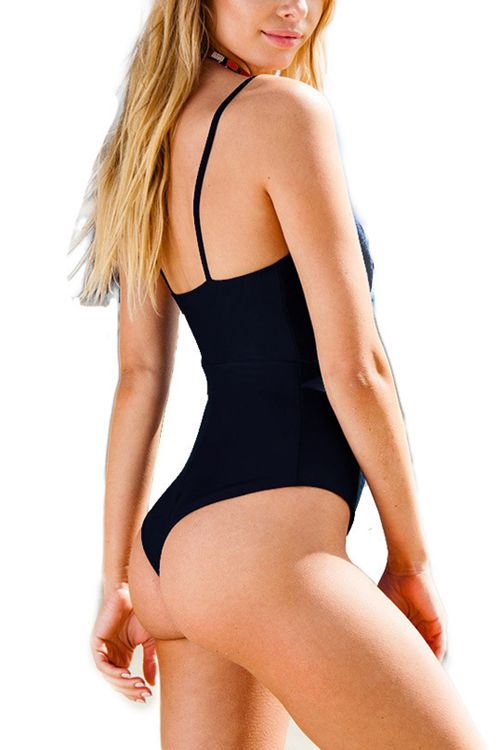 Black Hollow-out One-piece Swimsuit