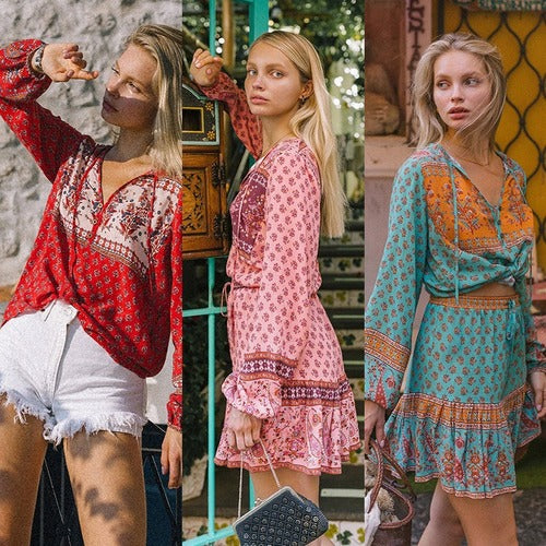 Cross-border new bohemian retro printed lantern with long sleeve neckline and A-shaped skirt two-piece set
