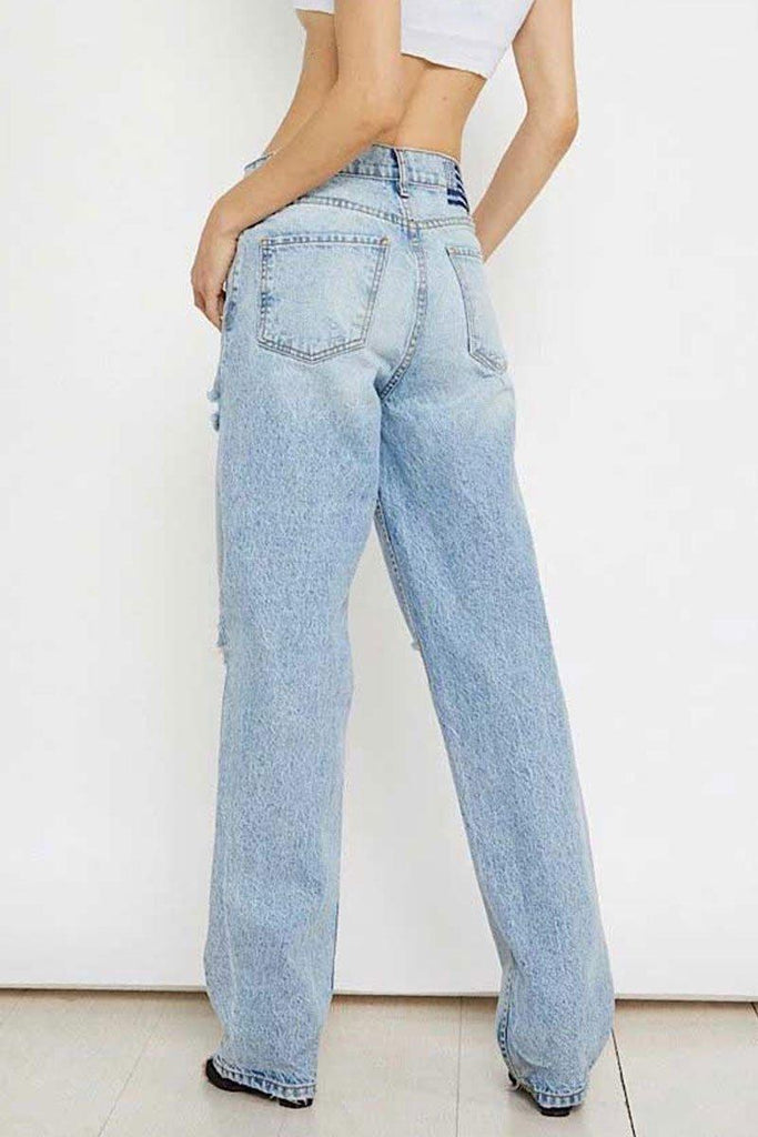 Straight Baby Blue Zipper Fly Jeans