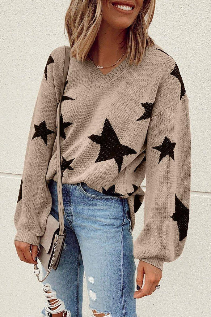 V Neck Star Lattern Sleeve Khaki Sweater