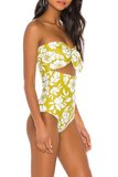 Hollow-Out Printed Yellow One-Piece Swimsuit
