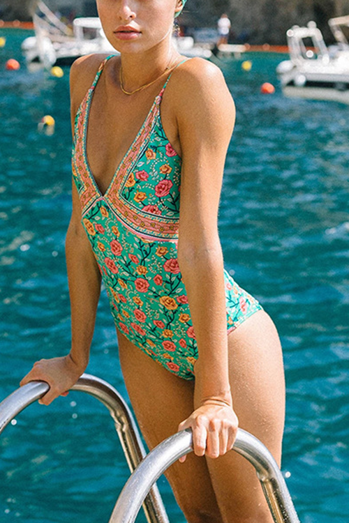 Floral Printed One-Piece Swimsuit