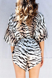 Printed V-Neck High-Waisted Leopard Printed Jumpsuit