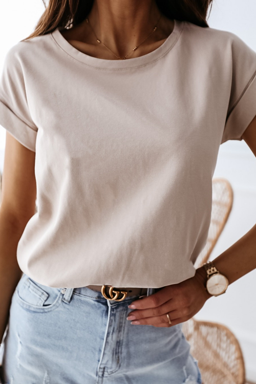 Simple Round Neck Solid T-Shirt