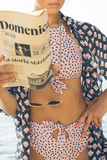 Dot Print Light Pink Two-piece Swimsuit