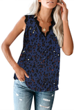 Lace-Up Printed V Neck Tank Top