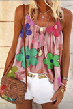 Flowers Printed Loose Tank Top