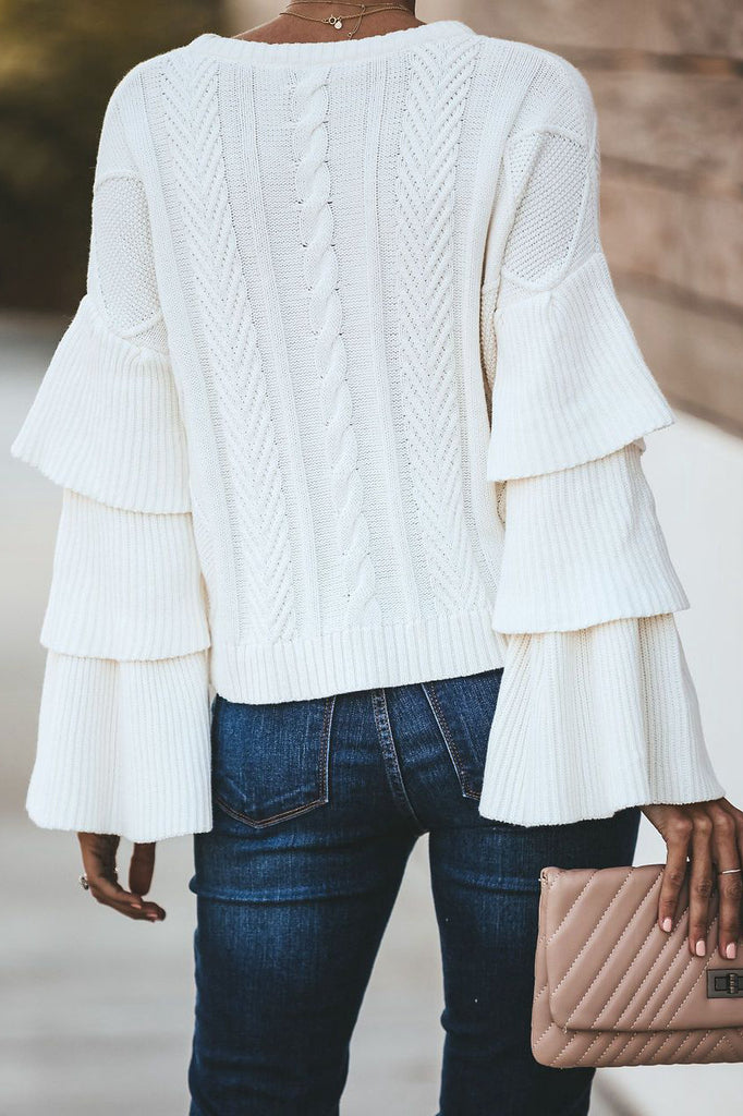 Round Neck Pullover Horn Sleeve Sweater