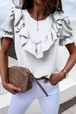 Solid Round Neck Bubble Sleeve T-Shirt