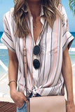 Paneled striped print buttoned shirt collar casual blouse