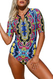Printed zip round neck short sleeve high waist one piece swimwear