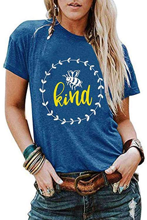 Letter Round Neck Short Sleeves T-Shirt