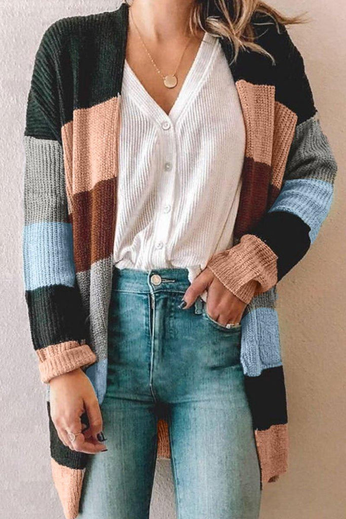Color-lump Patchwork Striped Cardigan