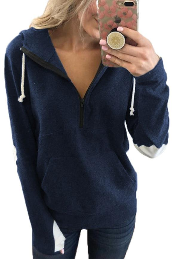 Hooded Collar Zipper Design Hoodie