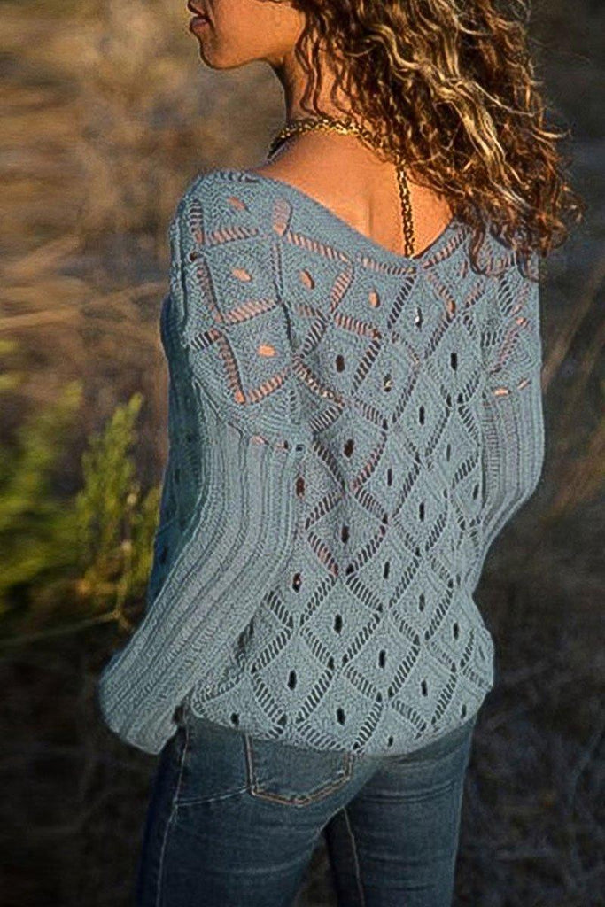 Casual Hollow-out Long Sleeve Sweater