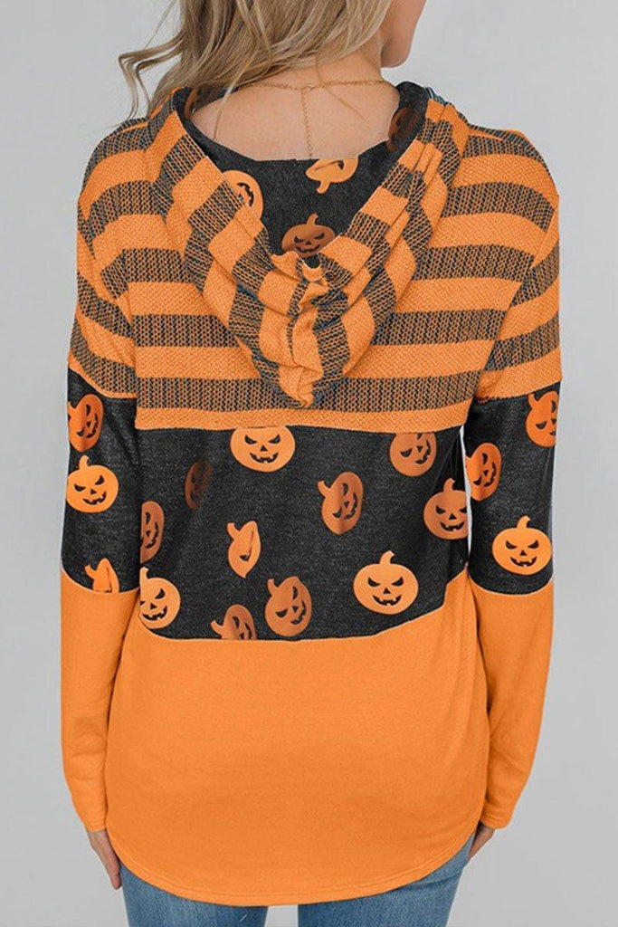 Hooded Collar Pumpkin Orange Hoodie