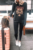 Casual Tiger Printed Grey Black Sweatshirt
