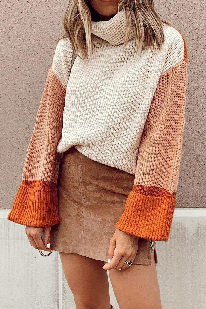 Turtleneck Patchwork Loose Sleeves Sweater