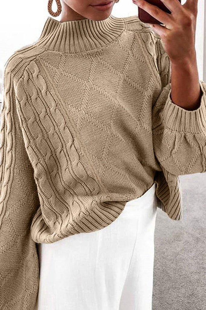 Loose Turtleneck Lantern Sleeve Sweater