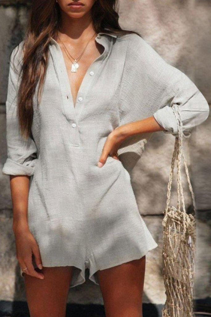 Casual Buttons Design Gray One-piece Romper