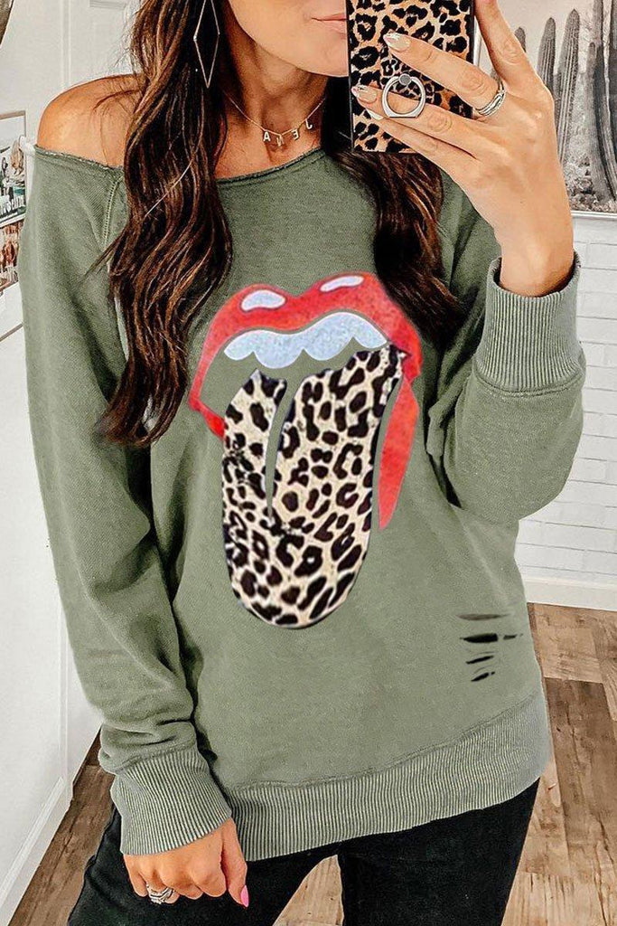 Lip Printed Green Sweatshirt