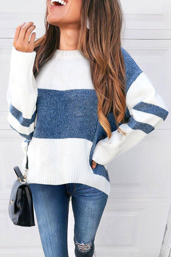 Long Sleeve O Neck Colorblock Sweater