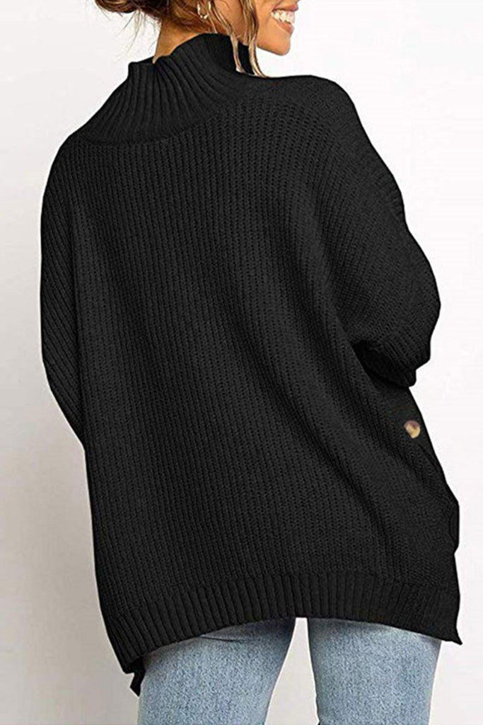 Turtleneck Button Black Sweater