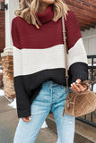 Turtleneck Patchwork Wine Red Sweater