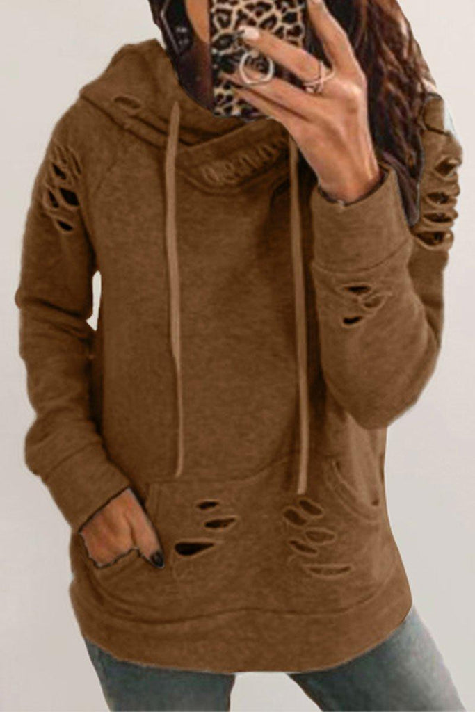 Hooded Collar Hollow-out Grey Hoodie(2 Colors)