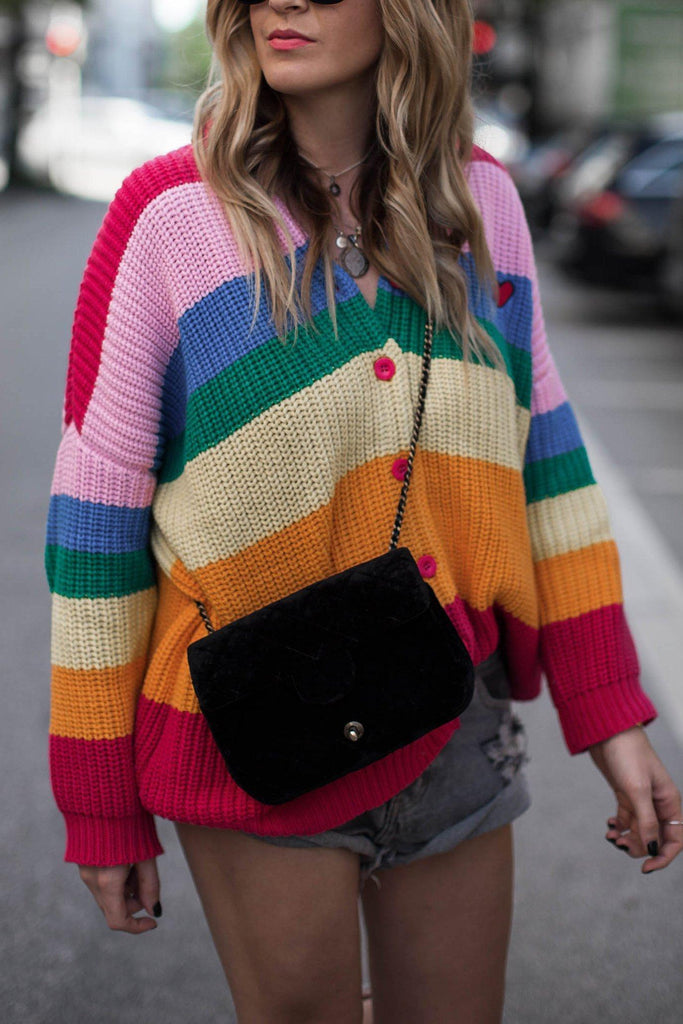 Color-lump Patchwork Multicolor Cardigan