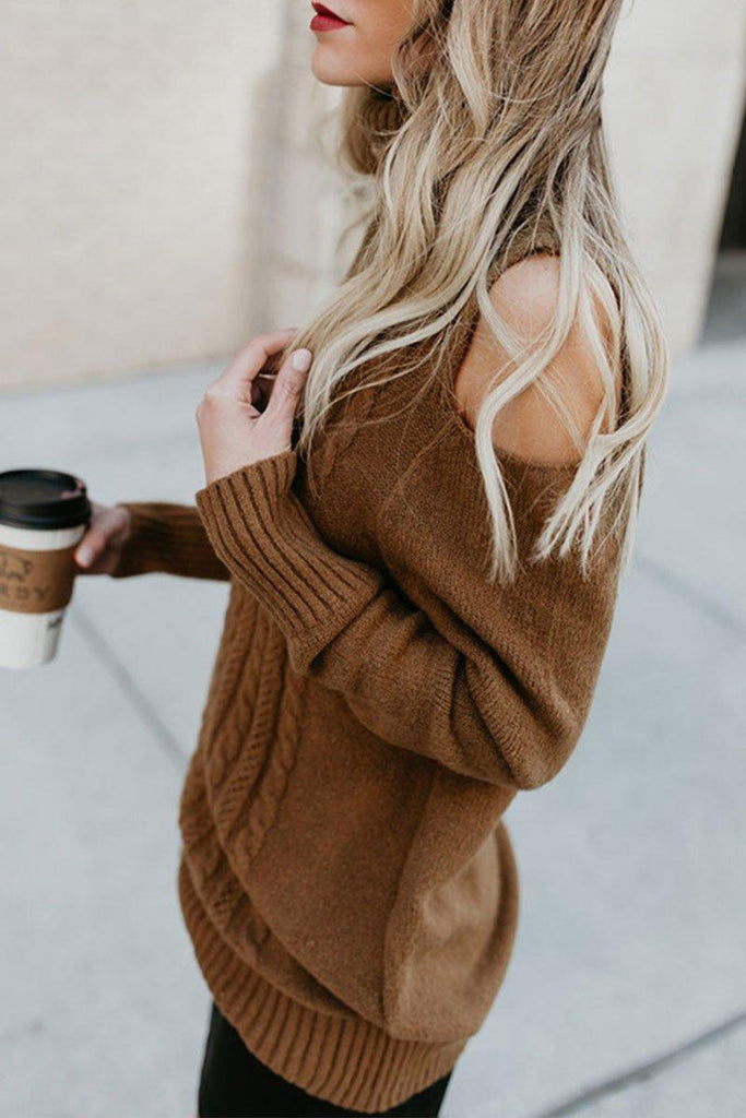 Dew Shoulder Brown Sweater