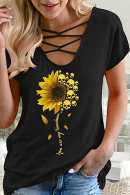 Personality Skull Sunflower Printed T-Shirt
